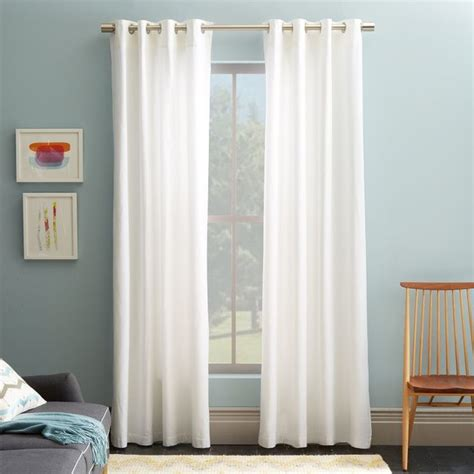 Cotton Canvas Grommet Curtain White Traditional