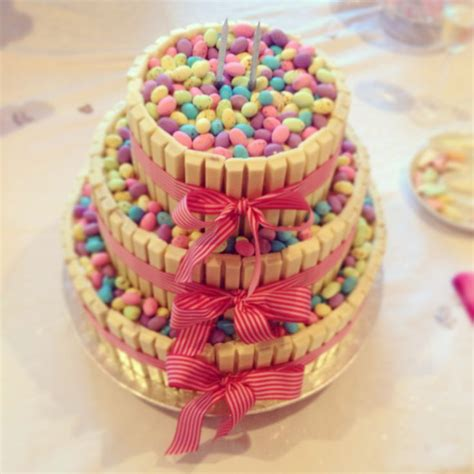 vanilla sponge cake decorated with kitkat and speckled eggs made by my granny for griffin s 2nd