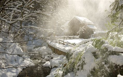 Pictures Of Small Houses Nature Landscapes Winter Snow Snowing Snowfall Snowflakes