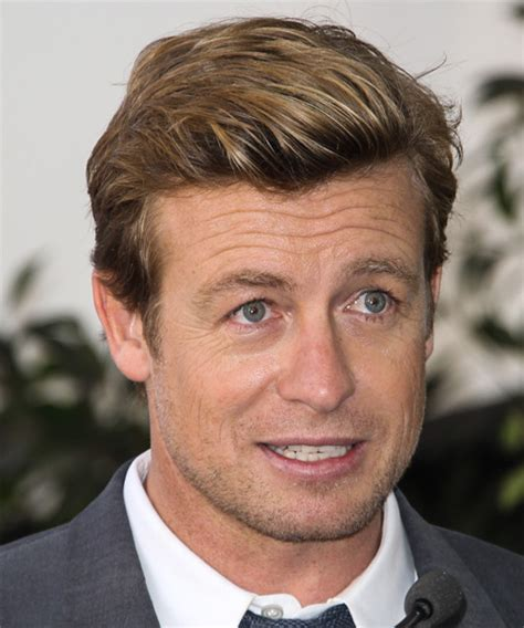 blond hair actor in the mentalist simon baker short straight casual hairstyle medium blonde