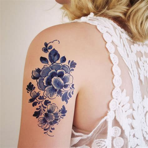 temporary ink tattoos large floral vintage delfts blauw temporary