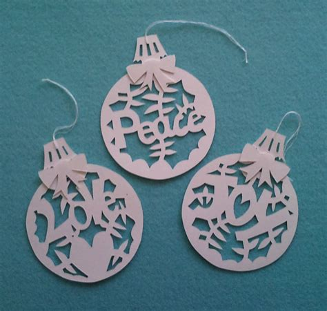 set of 3 paper cut christmas decorations