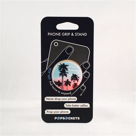 popsockets palm trees teal popsocket w grey base universal holder high quality vip outlet