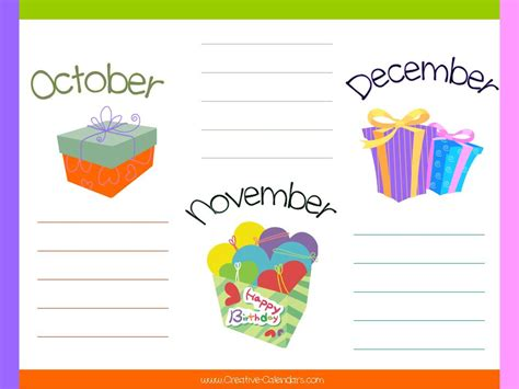 printable birthday chart template best photos of printable monthly birthday list templates