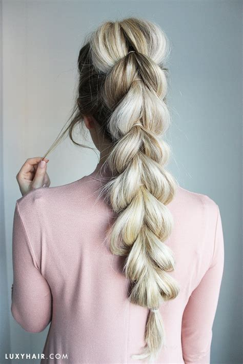 braided hairstyles luxy hair pull through braid how to do an easy braid hairstyle