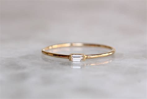 14k tiny baguette ring solid gold ring white gold