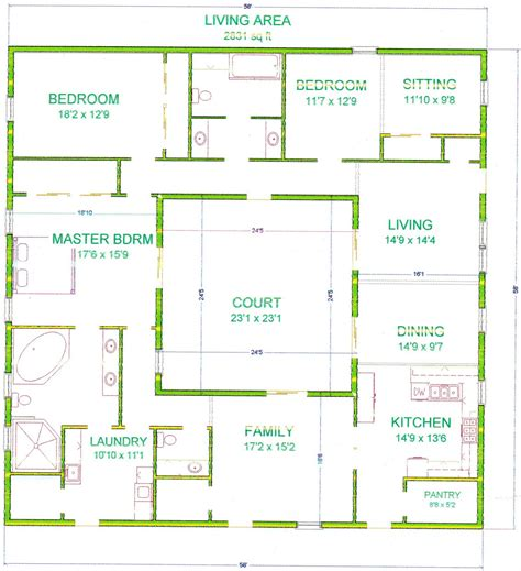 House Plan Rectangle With Courtyard | center courtyard house plans with 2831 square feet this