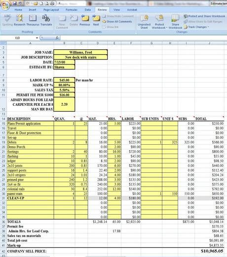 estimate template excel request shawn s excel estimating template