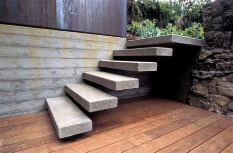 Exterior Concrete Cantilevered Stair Frontal sleek floating staircases for an interior