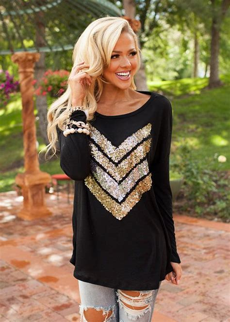 Syakira Tunic boutique best sparkly chevron tunic black modern vintage boutique in