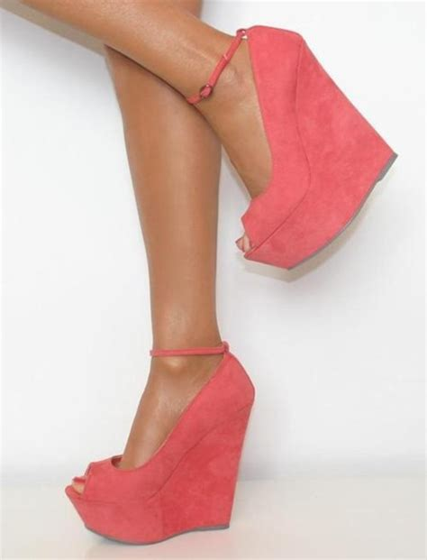 coral high heels shoes coral high heels heels wedges ankle pink