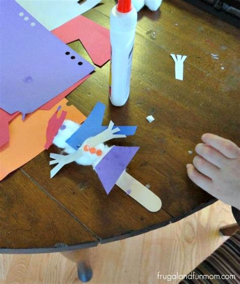 Cotton Paper Process - snowman craft with cotton balls and construction paper