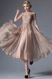 new rosy brown off shoulder tea length formal dress edressit