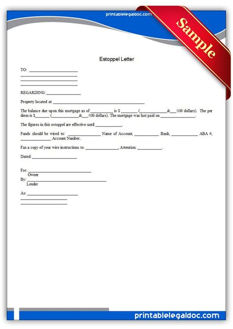 estoppel certificate template printable estoppel letter template printable forms