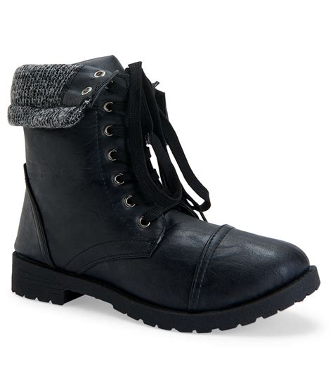 s water boots blue suede shoes sweater trim combat boot in black lyst
