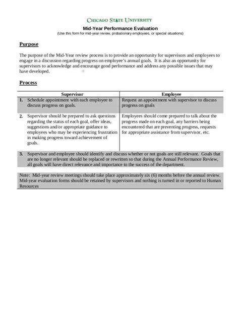 What Is An Employee Evaluation Form Sle Templates Mid Year Review Template