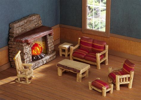 7 pc miniature dollhouse log cabin furniture with lighted
