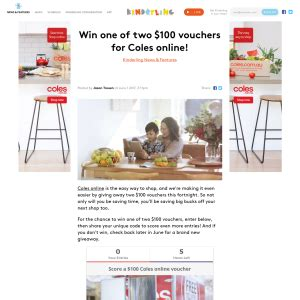 Win 100 Of Vouchers Catwalk 2 by Kinderling Win 1 Of 2 100 Vouchers For Coles