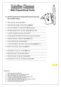 relative clauses with prepositional verbs worksheet