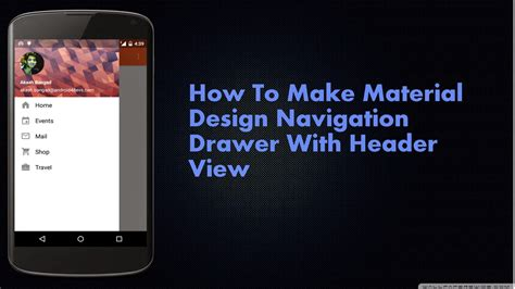 material design header android how to make material design navigation drawer with header