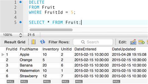delete data from a mysql database
