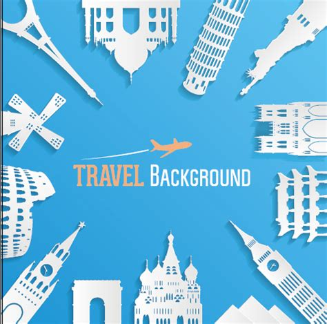 travel powerpoint templates classic buildings with travel background vector 03