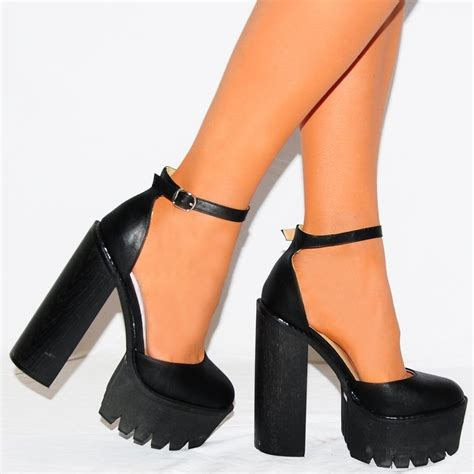 black high heels sandals black chunky ankle cleated platforms block strappy