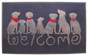 Striped Doormat Dog Tail Designer Quot Welcome Quot Rubber Doormat Contemporary