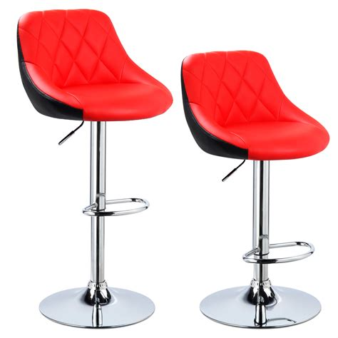 Leather Kitchen Stools With Backs 2 X Bar Stools Faux Leather Breakfast Kitchen Swivel Stool