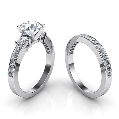 Wedding Bands With Stones by 3 Engagement Ring Wedding Band Bridal Set