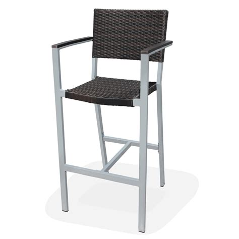 outdoor resin wicker fiji bar stool w arms bar