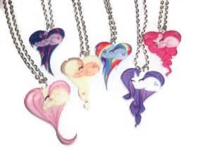 Name Plate Necklaces Gold My Little Pony Necklace Set 7 Heart Shape Pony Necklaces
