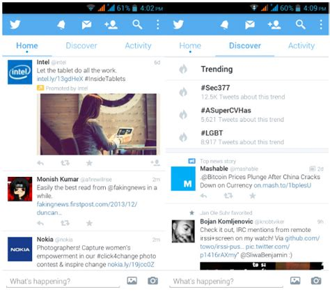 New Twitter Layout Android | twitter for android updated with a new design option to