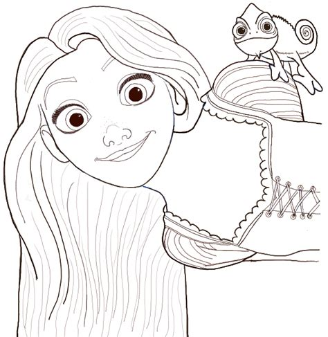 rapunzel coloring pages easy how to draw rapunzel and pascal from tangled with easy