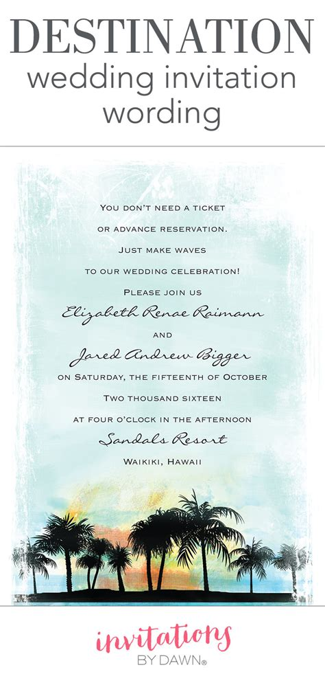 destination wedding invitation templates destination wedding invitation wording invitations by