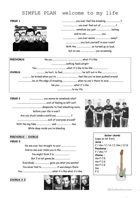welcome to my life by Simple Plan worksheet - Free ESL
