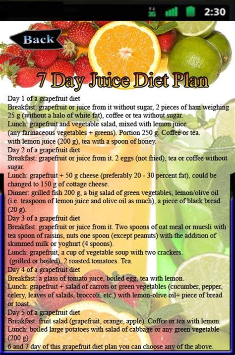 7 day juice diet plan android apps on play