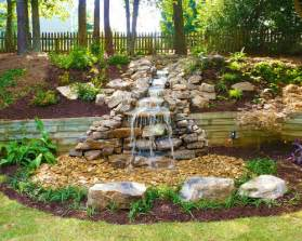 Pondless backyard waterfall stream home design ideas pictures
