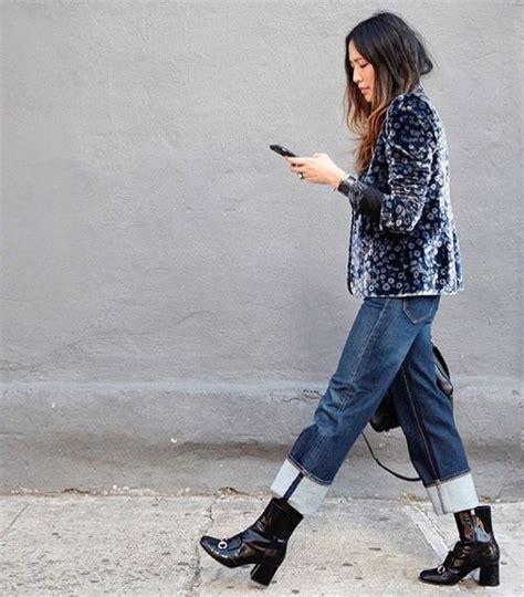 pattern cuff jeans velvet patterned jacket big cuff denim mid calf boots