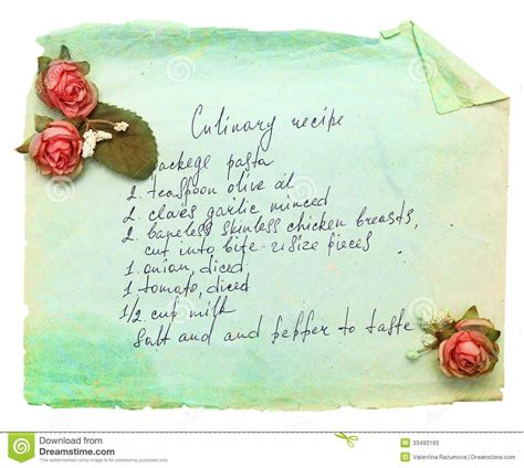 Paper Recipe - paper sheet with cooking recipe stock photos image