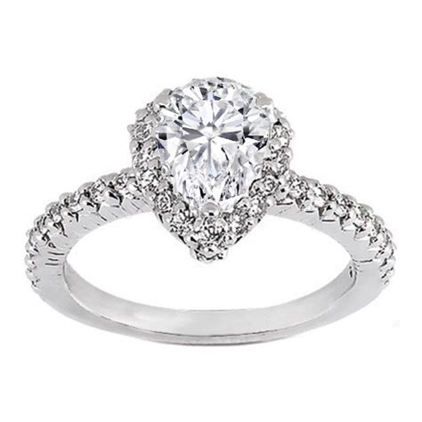 engagement ring pave set pear shaped engagement