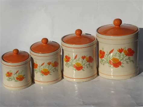 orange kitchen canisters retro orange poppies kitchen canisters set and breadboard 70s vintage