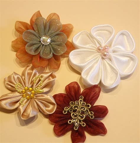 Fabric Handmade Flowers - layout kanzashi blooms handmade fabric flowers