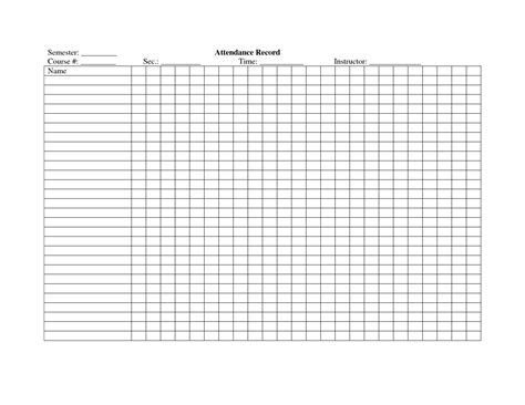 template for attendance register school attendance register template crafty