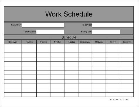 printable employee schedule template download 9 daily work schedule templates excel templates