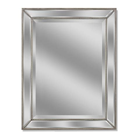 bathroom mirror 30 x 40 allen roth 30 in x 40 in silver beveled rectangle framed