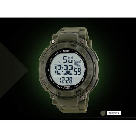 skmei s shock sport water resistant 50m dg1024 army green jakartanotebook