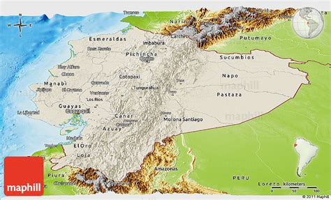 physical map of ecuador shaded relief panoramic map of ecuador physical outside