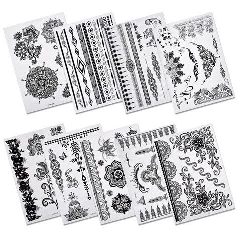 henna tattoos amazon pinkiou henna stickers lace mehndi