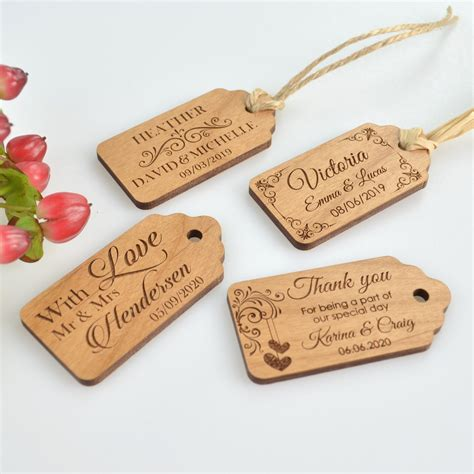 wedding tags engraved wooden wedding gift tags personalised favours
